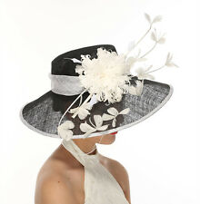 Church Kentucky Derby Carriage Wedding Tea Party Wide brim Sinamay Hat Black