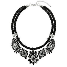Statement Silver Black Rope Jewel Bib Collar Necklace | FREE SHIPPING & 50% OFF