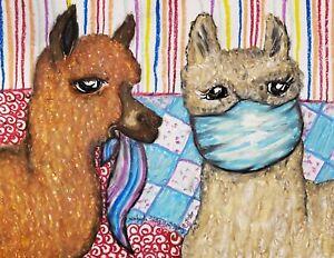 ALPACA in Quarantine 4x6 Farm Pop ART Print by Artist Kimberly Helgeson Sams