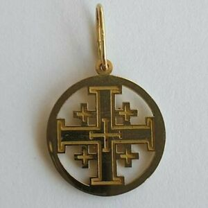 Jerusalem Cross - 14K Yellow or White Crucifix - Gold Cross - Crusaders Cross