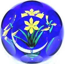 BEAUTIFUL Bob BANFORD Multi Faceted Yellow FLOWER Art Glass Studio PAPERWEIGHT