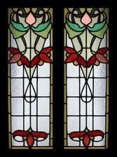 Awesome Floral Art Nouveau English Pair Stained Glass Sidelights / Windows