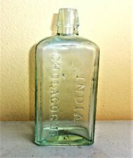 Antique INDIA CHOLAGOGUE OSCOOD'S NORWICH CONN USA Green Glass Embossed Bottle