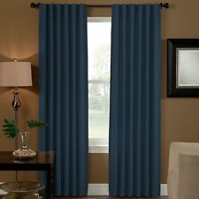 "Curtainworks Solid navy Saville Room Darkening Curtain Panel 52"" X 84"" new"