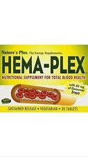 Natures Plus Hema-Plex -- 30 Tablets FAST 1st Class SHIPPING