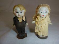 """Pr Vtg Bisque Dolls Japan Bride Groom 3.5"""" Moveable Arms"""