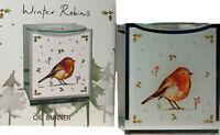 Christmas Robin Glass Oil Burner