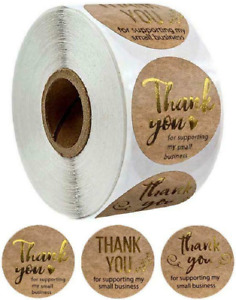 Thank You For Supporting My Small Business Stickers Brown & Gold Labels 25mm