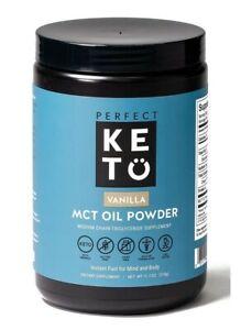 Perfect Keto MCT Oil C8 Powder Coconut Medium Chain Triglycerides Vanilla