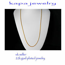 Gold Chain Men Womens 22in 18ct GoldPlated Necklace 2mm thick Curb Chain  A13