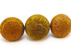 Three Antique Brass Victorian Doorknobs