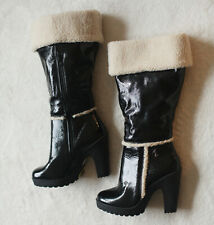 Baby Phat Solara Knee High Shiny Black Faux Fur High Heel Boot Womens Size 9