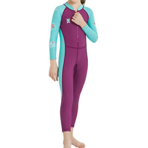 Kids Long Sleeve Swimsuit Unisex Sun Protective Full Body One Piece Swimwear