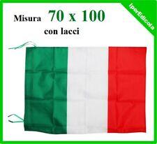 bandiera italia italiana tricolore con lacci in fibra di polyestere 70x100