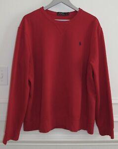 Men's Polo Ralph Lauren Crew Neck Fleece Red Sweatshirt Navy Pony Logo Sz XL