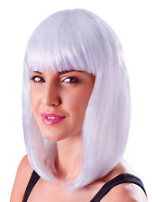 Blanco Largo Bob Peluca Nicky Minaj Celebrity estilo 80s Chick Fancy Dress Accesorio