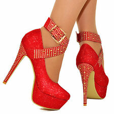 WOMENS SPARKLY DIAMANTE PLATFORM HIGH HEELS ANKLE STRAPS PUMPS SHOES SIZES 3-10