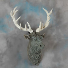 Large Grey Stag Deer Head Stone Effect Wall Mounted Figure Statue Gift