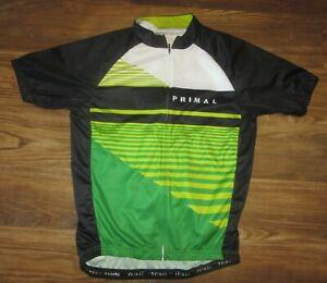 Primal Racecut Full-Zip Mens Cycling Jersey, White/Green Striped, Size XL, EUC