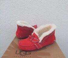 UGG POLER LIPSTICK RED SHEEPSKIN CUFF MOCCASIN SLIPPERS, US 11/ EUR 42 ~NIB