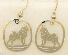Norwegian Elkhound Jewelry Silver Wire Earrings