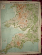 """1920 LARGE MAP ~ ENGLAND & WALES ~ SOUTH WEST 23"""" x 18"""""""