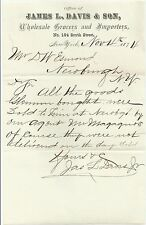 1874 WHOLESALE GROCERS & IMPORTERS James L Davis & Son Letterhead New York