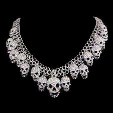 Fashion Halloween Lots Skull Necklace Pendent Rhinestone Crystal Clear AB E464