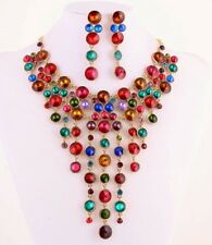 Elegant Cascade of Multi Jewel Colors Rhinestones Statement Fashion Necklace Set