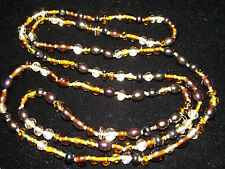 """Spectacular Large Vintage Art Glass Necklace/54""""/Great Condition"""