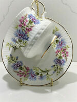 Rosina-Queens England Fine Bone China Wild Flowers Blue Pink Teacup Saucer Set