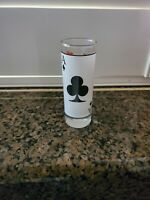 2 Oz Shot Glass, Ace Of Clubs Poker Playing Card  Design.