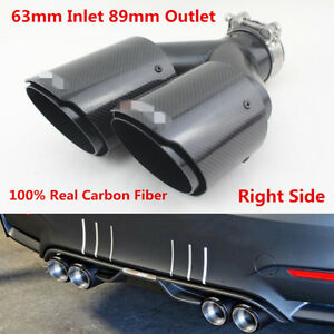 1x Glossy Car SUV 63mm Inlet Dual Exhaust Pipe Tail Muffler End Tip Carbon Fiber