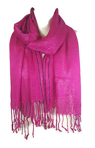 Ladies Womens Glitter Stripes* Net Scarf Shawl Stole Cover Up - Hot Pink (PRTY)