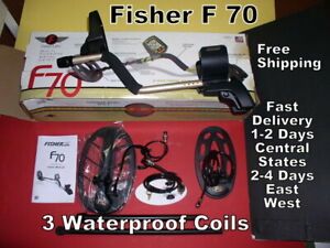 Fisher F 70 Metal Detector with 3 Waterproof Coils FAST Delivery * Free Shipping