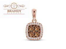 10K RAVISHING ROSE GOLD BRANDY DIAMOND CHOCOLATE BROWN STUNNING PRINCESS PENDANT