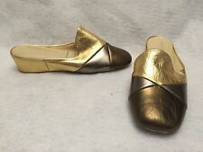 Lamo OOMPHIES Laurie Metallic Leather Gold Wedge Slip On Mules Slippers Size 5