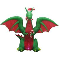 Inflatable Dragon with Santa Hat 11 Ft Tall Airblown Christmas Decor KG