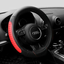 15'' Car Steering Wheel Cover Red PU Leather Universal Fit Protection