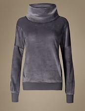NEW M&S Ladies Grey Velour Fleece Long Sleeve Pyjama Lounge Top 14 EUR 42