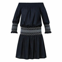 Seed Heritage Women's Dress Of Shoulder Shirred Waist Cotton Navy Blue Size M
