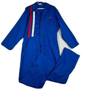 Vintage Blue Pit Crew Mechanics Racing Jumpsuit Coveralls Size 46R Stripes 80s