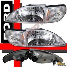94-98 Ford Mustang GT Cobra V6 Chrome Headlights w Corner Signal Lights 4pcs Set