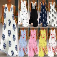 ZANZEA Womens Sleeveless Boho V-Neck Long Maxi Dress Summer Beach Party Sundress