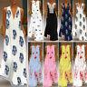 ZANZEA Womens Sleeveless Boho V-Neck Maxi Dress Summer Beach Party Sundress Plus