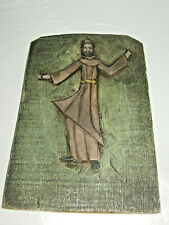 Handmade St Francis Wood Carved Plaque Artist Signed - patron saint of animals