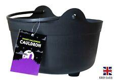 Black Plastic HALLOWEEN CAULDRON Spooky Party Kids Trick Treat Basket Decor UK