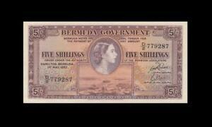 "1957 BRITISH COLONY BERMUDA 5 SHILLINGS QEII 5/- ""D/2"" (( EF+ ))"