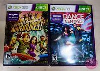 XBOX 360 KINECT 2 GAME BUNDLE - Adventures Adventures! & Dance Central
