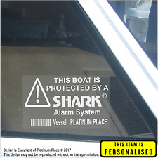 4 x PERSONALISED Boat Security Shark Alarm Stickers-Name Printed on Window Sign